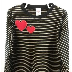 Gymboree long sleeve top heart patches 8 girls